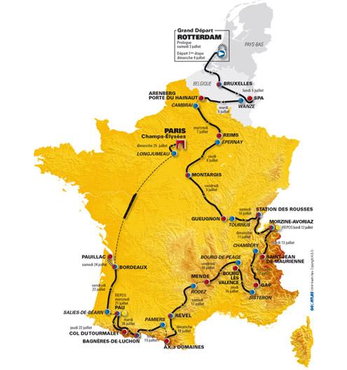 Carte du Tour de France 2010